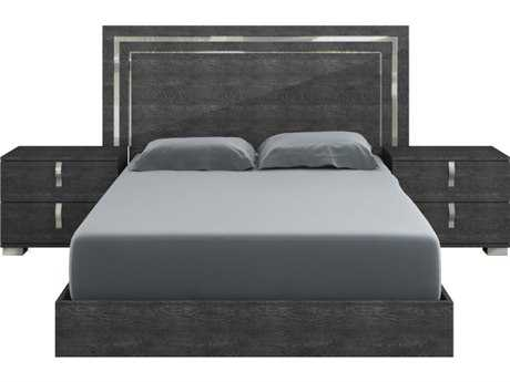Star International Furniture Vivente Noble Grey Birch High Gloss Acrylic Lacquer King Platform Bed