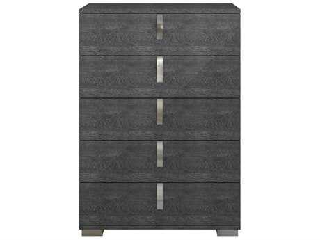 Star International Furniture Vivente Noble Grey Birch High Gloss Acrylic Lacquer 36'' x 19'' Five-Drawer Chest of Drawers