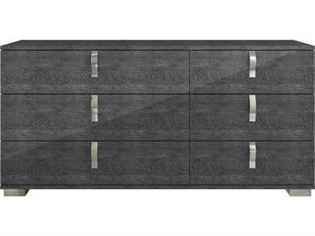 Star International Furniture Vivente Noble Grey Birch High Gloss Acrylic Lacquer 68.5'' x 19'' Six-Drawer Dresser