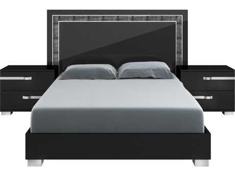 Star International Furniture Vivente Lustro Black High Gloss & Silver Acrylic Lacquer Queen Platform Bed with Artificial Croc Trim