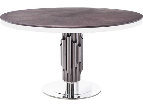 Star International Furniture Xena Aria Matte Light Grey Oak, Aluminum & Stainless Steel 54'' x 54'' Round Dining Table