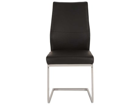 Star International Furniture Regis Sydney Chrome Set of Two Black Synthetic Leather Dining Side Chairs