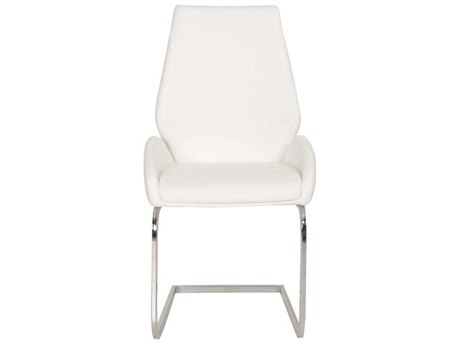 Star International Furniture Regis Caro Set of Two Chrome White Synthetic Leather Dining Arm Chairs