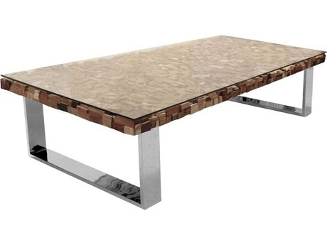 Star International Furniture Taj Viaggi Stainless Steel, Magnolia & Teak Wood 63'' x 31'' Rectangular Coffee Table