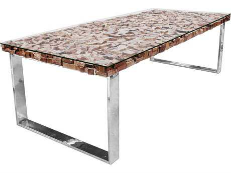 Star International Furniture Taj Viaggi Magnolia and Teak Wood with Tempered Glass 79'' x 39'' Rectangular Dining Table