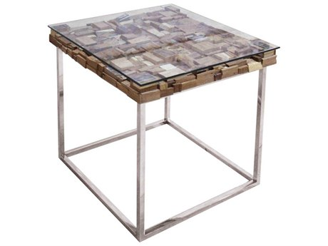 Star International Furniture Taj Viaggi Stainless Steel, Magnolia & Teak Wood 24'' x 24'' Square End Table