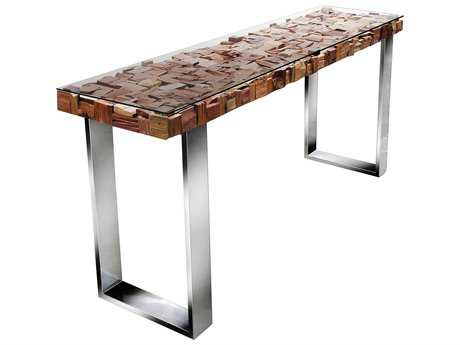 Star International Furniture Taj Viaggi Stainless Steel, Magnolia & Teak Wood 71'' x 16'' Rectangular Console Table