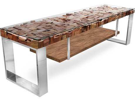 Star International Furniture Taj Viaggi Magnolia, Philippine Gmelina, Teak Wood,Tempered Glass & Stainless Steel 73'' x 22'' TV Bench