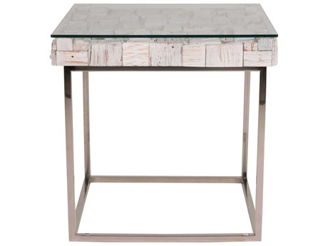 Star International Furniture Taj Native White Wash, Stainless Steel, Solid Magnolia & Teak Wood 24'' x 24'' Square End Table