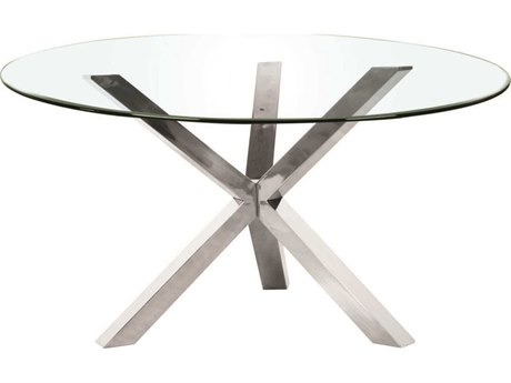 Star International Furniture Ritz Mantis Dining Table Base with 60'' Square Clear Top