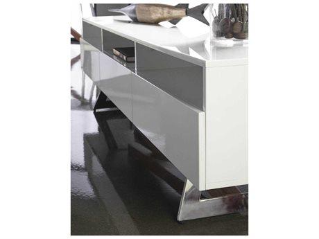 Star International Furniture Ritz Monica White High Gloss and Walnut / Stainless Steel 71'' x 17'' TV Stand
