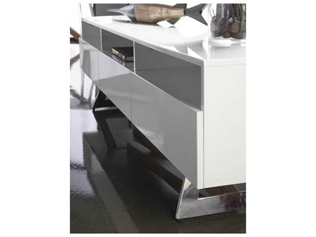 Star International Furniture Ritz Monica White High Gloss and Walnut / Stainless Steel 71'' x 17'' TV Stand