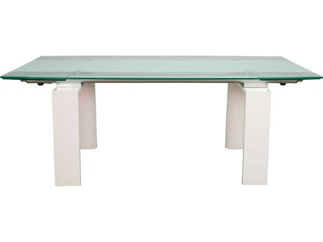 Star International Furniture Ritz Lara White High Gloss Textured Lacquer 79'' x 43'' Rectangular Extension Dining Table