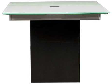 Star International Furniture Ritz Quadrato Black Granite with Frosted Glass 39'' x 39'' Square Extension Dining Table