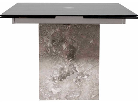 Star International Furniture Ritz Onyx Grey Marble with Black Glass 39'' x 39'' Square Extension Dining Table