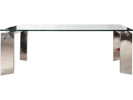Star International Furniture Ritz Mo Stainless Steel with Glass 79'' x 39'' Rectangular Dining Table