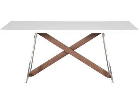 Star International Furniture Ritz Monica White High Gloss with Walnut and Stainless Steel 71'' x 39.5'' Rectangular Dining Table
