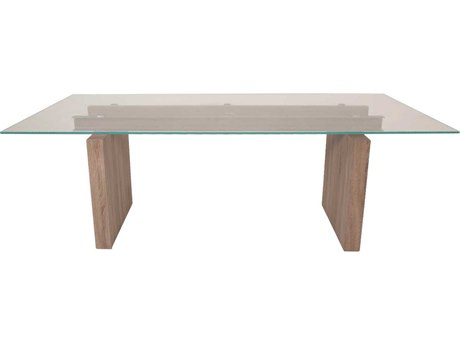 Star International Furniture Ritz Trave Tempered Super Clear Glass and Driftwood Metal 87'' x 40'' Rectangular Dining Table