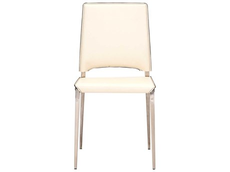 Star International Furniture Ritz Lola Cream Bonded Leather Dining Side Chairs with Stainless Steel Legs (Sold in 2)