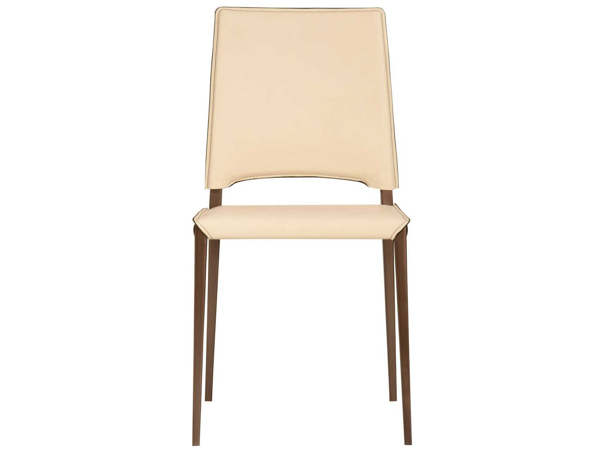 Star International Furniture Ritz Lola Cream Bonded Leather Set Of 2 Dining Side Chairs With