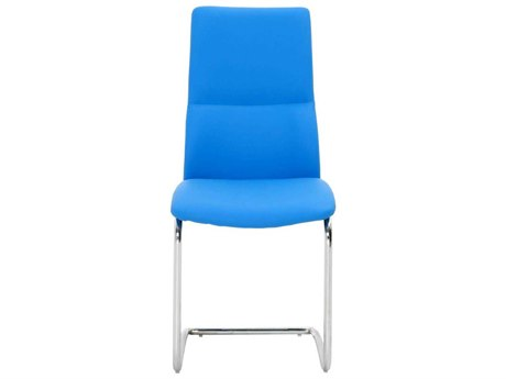 Star International Furniture Ritz Mira Set of Two Stainless Steel Blue Synthetic Leather Metal Dining Side Chairs