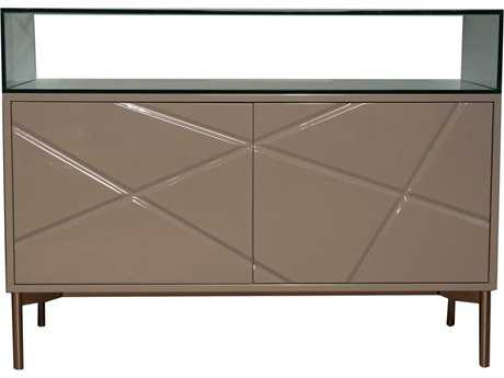 Star International Furniture Ritz Linea Tan High Gloss Acrylic Lacquer & Glass 47'' x 18'' Room Divider
