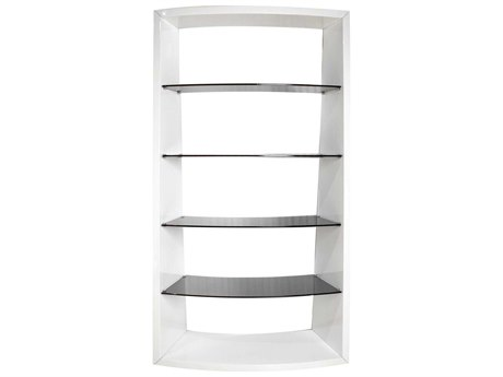 Star International Furniture Ritz Movement Matte White & Smoke Grey 40.5'' x 16'' Shelving Unit