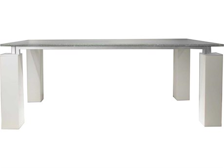 Star International Furniture Ritz Tiffany Dining Table Base with 75'' x 52'' Clear Crackled Top