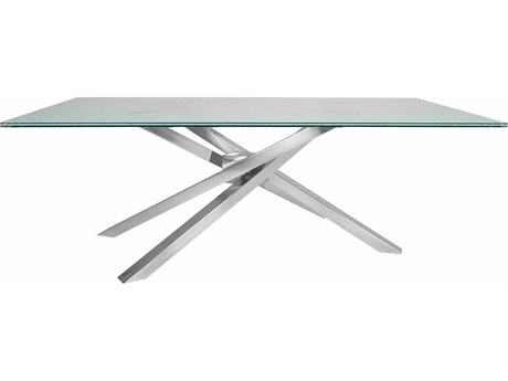 Star International Furniture Ritz Illusione Dining Table Base with 84'' x 44'' Clear Crackled Top