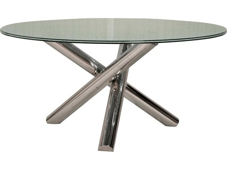 Star International Furniture Ritz Gotham Dining Table Base with 60'' Round Clear Crackled Top