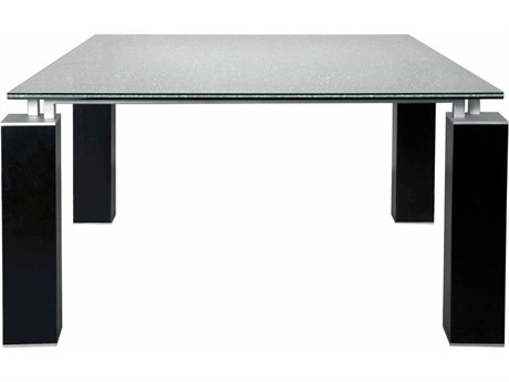 Star International Furniture Ritz Tiffany Dining Table with 60'' Square Clear Crackled Top