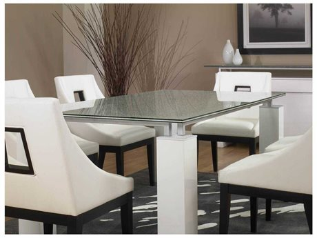 Star International Furniture Ritz Tiffany White High Gloss Wood 74.5'' x 41.5'' Rectangular Dining Table Base