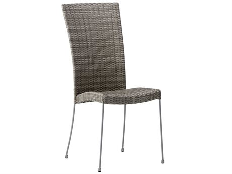 Sika Design Avantgarde Wicker Teak Grey Saturn Stackable Dining Side Chair PatioLiving