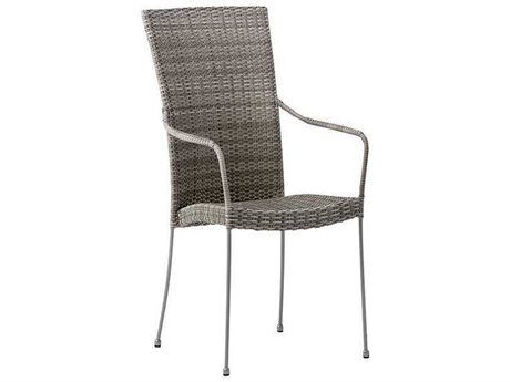Sika Design Avantgarde Wicker Teak Grey Saturn Stackable Dining Arm Chair PatioLiving