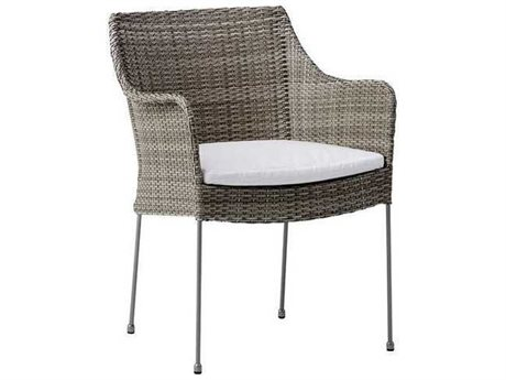 Sika Design Avantgarde Teak Grey Steel Cushion Dining Chair