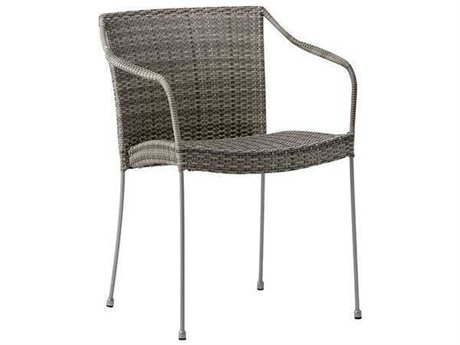 Sika Design Avantgarde Wicker Teak Grey Pluto Lowback Stackable Dining Arm Chair PatioLiving