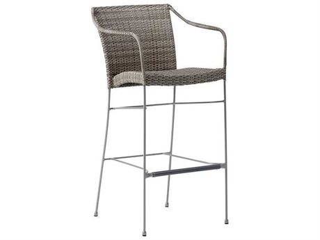 Sika Design Avantgarde Teak Grey Steel Wicker Bar Stool