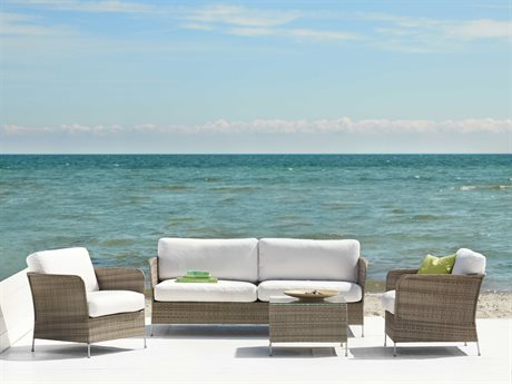 Sika Design Avantgarde Wicker Teak Grey Cushion Orion Lounge Set PatioLiving