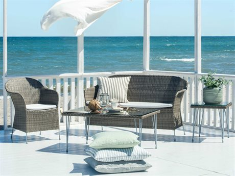 Sika Design Avantgarde Wicker Teak Grey Cushion Athene Lounge Set PatioLiving