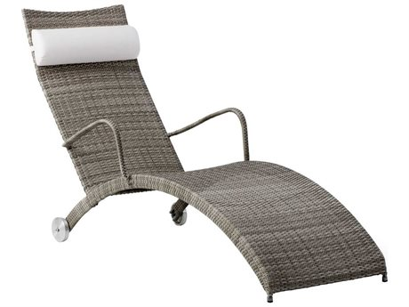 Sika Design Avantgarde Teak Grey Steel Wicker Chaise Lounge