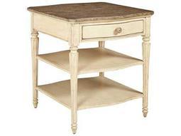 Stanley Furniture European Cottage Vintage White & White Oak 26'' x 28'' Rectangular Lamp Table