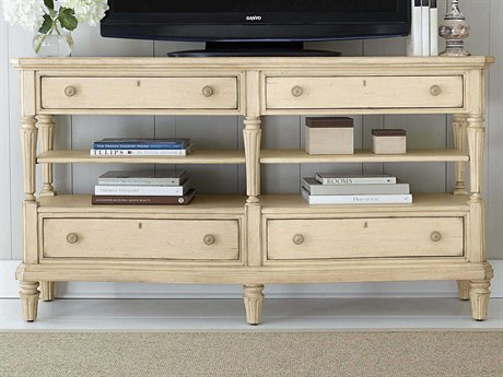 Stanley Furniture European Cottage Vintage White 66'' x 19'' Rectangular Media Console TV Stand