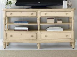 European Cottage Vintage White 66'' x 19'' Rectangular Media Console TV Stand