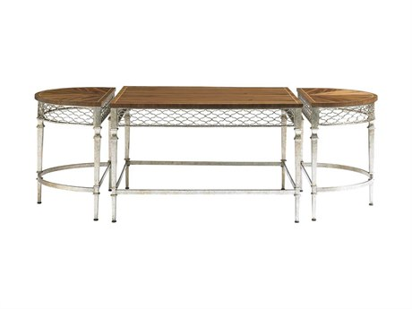 Stanley Furniture Charleston Regency Champagne Silver Leaf 59'' x 26'' Oval Trinity Cocktail Table