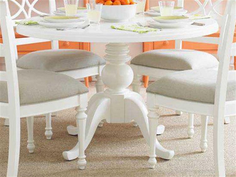 Stanley Furniture Coastal Living Retreat Saltbox White 48u0027u0027 Round Pedestal  Painted Top Dining Table