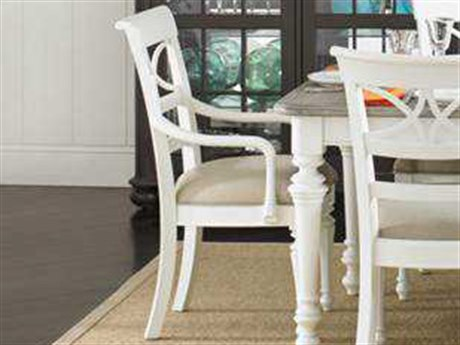 Stanley Furniture Coastal Living Retreat Saltbox White Sea Watch Dining Arm  Chair