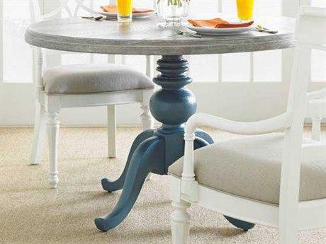 Stanley Furniture Coastal Living Retreat Belize Teal 48 Round Pedestal Wood Top Dining Table