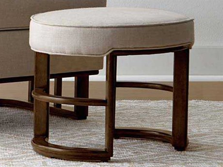Stanley Furniture Santa Clara Burnished Walnut & Oatmeal Linen Ottoman
