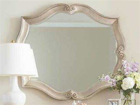 Stanley Furniture Juniper Dell Tarnished Silver Leaf 48''W x 42''H Scalloped Wall Mirror