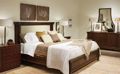 Stanley Furniture Havana Crossing Colonial Mahogany Panel Bed Bedroom Set